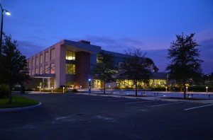 Early morning view of the new UF Small Animal Hospital.