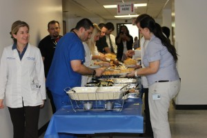 Students gather their food buffet-style during the May 1 Senior Exit Lunch.