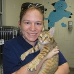 Student Lauren Gray is delighted with the newest member of her furry family (now named Otis)
