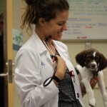 Veterinary student with a dog.