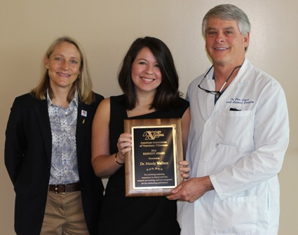 Dr. Mandy Wallace with Resident's Award.