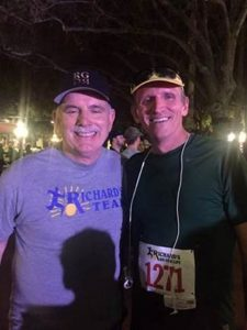 "Dean Jim Lloyd, right, is shown with Richard Gonzmart on Nov. 4 during the 15th annual ""Richard's Run for Live"" race in Ybor City to raise funds for cancer research. Gonzmart, a longtime client of the UF Small Animal Hospital and supporter of the college, is president of the Columbia Restaurant Group, the flagship of which is Florida's iconic Columbia Restaurant, founded in 1905 by Gonzmart's great-grandfather in Ybor City."