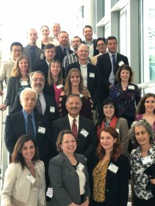 Participants in a novel translational health conference gathered for a photo at their meeting spot in Lake Nona.