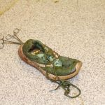 Shoe extricated from crocodile