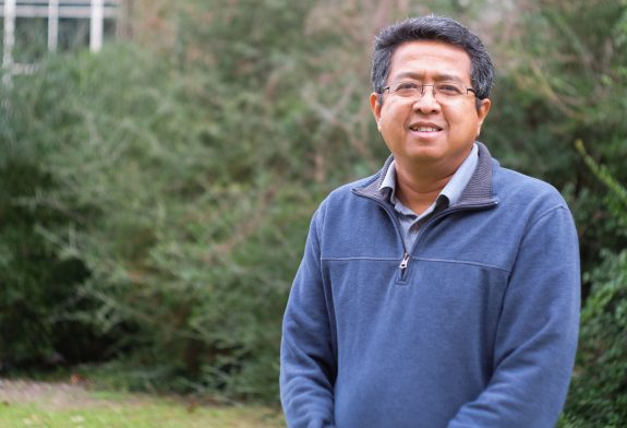 Dr. Apachai Tuanyok outside of his laboratory in the UF Emerging Pathogens Institute. (Photo by Thom Sanders)