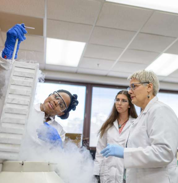 Doctoral student Alicer Andrew, laboratory manager Brittany Russ and Dr. Julie M. Moore remove malaria parasites from deep freeze storage. (Photo by Jesse Jones)