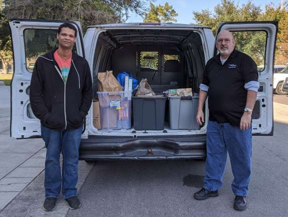 Food bank drivers after first pick-up.